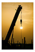 Mellitah, Lybia, Jan 19, 2004, Wafa gaz project. Construction of the jetty and pipelines. PHOTO©Christophe VANDER EECKEN