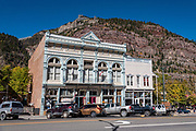 Wright's Opera House (Wright's Hall) was built in 1888 at 472 Main Street in Ouray, Colorado, USA. The San Juan Mountains rise behind.