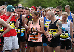 Zola Budd (centre) talks with runners prior to the first ever Stirling Marathon starting from Blair Drummond Safari Park, on a route which takes the 6500entrants via Dunblane and the Bridge of Allan, before finishing at Stirling Castle.