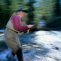 FISHING. Linda Hausler (MR) fishing in Hyalite Creek near Bozeman, MT.
