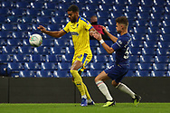 AFC Wimbledon striker Jake Jervis (10) battles for possession with George McEachran of Chelsea (55) during the EFL Trophy match between U21 Chelsea and AFC Wimbledon at Stamford Bridge, London, England on 4 December 2018.