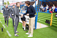 Macclesfield Town manager Daryl McMahon and Crawley Town manager Gabriele Cioffi shaking hands the EFL Sky Bet League 2 match between Macclesfield Town and Crawley Town at Moss Rose, Macclesfield, United Kingdom on 7 September 2019.