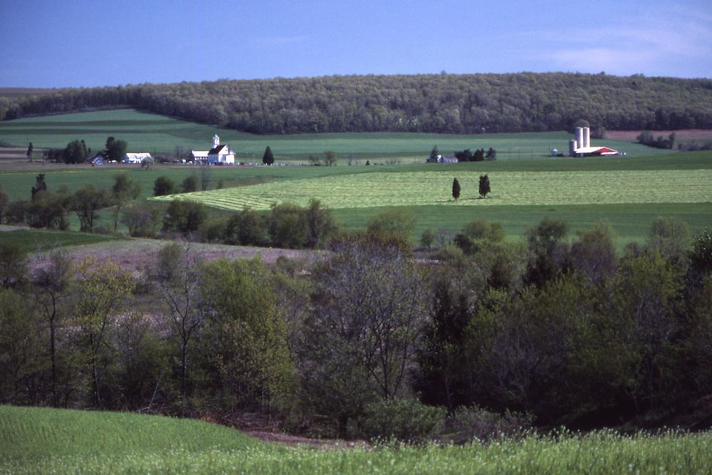 Pennsylvania, farmland and forest, springtime,