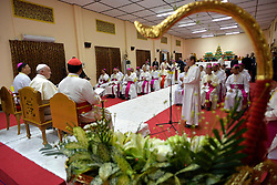 Pope Francis meets with the bishops of Myanmar on November 29,2017 in Yangon,Myanmar. Pope Francis' visit in Myanmar and Bangladesh runs from 27 November to 02 December 2017. Photo by ABACAPRESS.COM