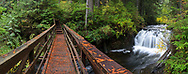 The Bridge over Rolley Creek next to Rolley Falls at Rolley Lake Provincial Par in Mission, British Columbia, Canada.