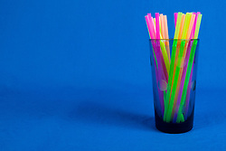 12 August 2014:   Studio - Crystal Glass and plastic straw