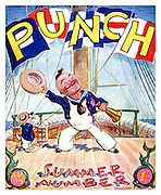 Front cover of Punch Magazine - Summer Number - 1934..Mr Punch dressed as a 19th century sailor on the deck of a wooden sailing ship with his Toby dog , also dressed as a sailor and sending a signal with flags .  Illustration by EH Shepard .