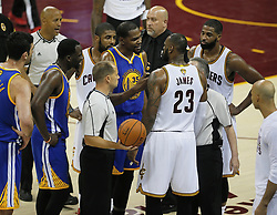 The Golden State Warriors' Kevin Durant argues with the Cleveland Cavaliers' LeBron James during the third quarter during Game 4 of the NBA Finals at Quicken Loans Arena in Cleveland on Friday, June 9, 2017. The Cavs won, 137-116, trimming their series deficit to 3-1. (Photo by Leah Klafczynski/Akron Beacon Journal/TNS) *** Please Use Credit from Credit Field ***