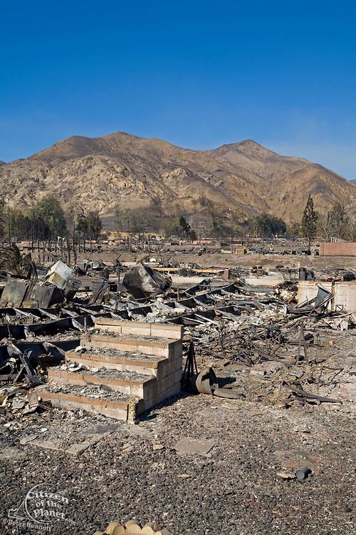Oakridge Trailer Park devastated after Sylmar Wildfire in November 2008, California, USA