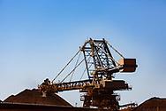 An Iron Ore reclaimer at work in the Pilbara region of Western Australia.