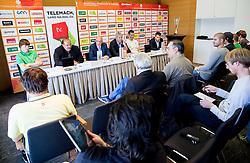 Jaka Klobucar and Aleksandar Dzikic of KK Krka and Ales Pipan and Dragisa Drobnjak of KK Union Olimpija during press conference before Final of Telemach League - Slovenian basketball Championship 2013/14 on May 20, 2014 in Hotel Plaza, Ljubljana, Slovenia. Photo by Vid Ponikvar / Sportida