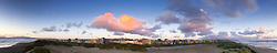 Panorama: Red Cloud Over Ocean Beach at Dusk, San Francisco, California, US