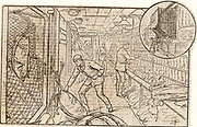 Interior view of one of the mail trains which left Euston station, London, England, every evening for different parts of the British Isles. The vignette at the top right shows the exterior of the coach and the net for catching mailbags and the pole for ejecting them en route at stations where no halt was made. From 'Cassell's Family Magazine' (London, 1888).