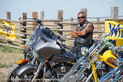 Run to the Line for lunch and biker vs Cowboy rodeo games at the Spur Creek Ranch in Newell during the annual Sturgis Black Hills Motorcycle Rally.  SD, USA. Wednesday August 9, 2017. Photography ©2017 Michael Lichter.