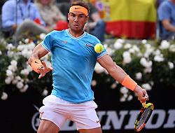 ROME, May 20, 2019  Rafael Nadal of Spain hits a return during the men's singles final match against Novak Djokovic of Serbia at the Italian Open Tennis tournament in Rome, Italy, May 19, 2019. Rafael Nadal won 2-1. (Credit Image: © Alberto Lingria/Xinhua via ZUMA Wire)