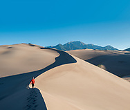 Hiking in Great Sand Dunes National Park, Colorado.