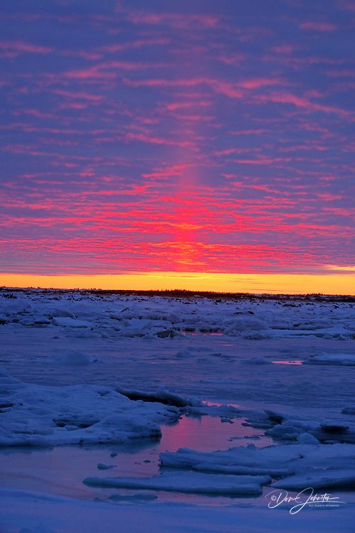 Sunset over Hudson Bay lowlands in early winter, Seal River Heritage Lodge, Churchill, Manitoba, Canada