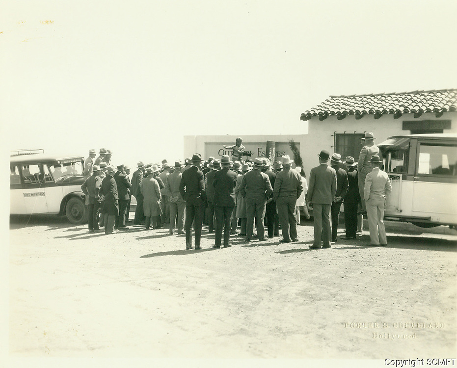 1926 Magician entertains buyers at the upper sales office in the Outpost Estates