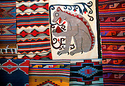 MEXICO, CRAFTS AND MARKETS Oaxaca, craft market with traditional woven rugs in natural dyes