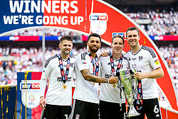 Free to use courtesy of Sky Bet. Oliver Norwood, Ryan Fredericks, , Stefan Johansen and Kevin McDonald hold the trophy as Fulham celebrate winning the game 0-1 to win the Sky Bet Championship Play-Off Final and secure Promotion to the Premier League - Rogan/JMP - 26/05/2018 - FOOTBALL - Wembley Stadium - London, England - Aston Villa v Fulham - Sky Bet Championship Play-Off Final.