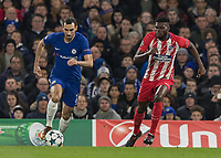 Football - 2017 / 2018 UEFA Champions League - Group C: Chelsea vs. Atletico Madrid<br /> <br /> Davide Zappacosta (Chelsea FC)  drives past Thomas Partey (Atletico Madrid) before taking a shot at the Atletico goal at Stamford Bridge.<br /> <br /> COLORSPORT/DANIEL BEARHAM