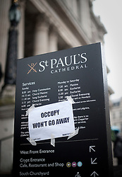 © Licensed to London News Pictures. 22/02/2012. London, UK. A note attached to a sign for St Paul's Cathedral by the Occupy London Stock Exchange group in front of St Paul's Cathedral on February 22nd 2012. Protesters at the site have been refused permission to appeal against their eviction from the Occupy London camp. Photo credit : Ben Cawthra/LNP