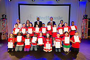 Claddagh NS pupils with their Certificates for the participation at the Medtronic Junior FIRST LEGO League challenge with teachers Michelle Smyth and Ruth O'Malley from St Nicholas NS Claddagh Mc Paul Sneem Medtronic's Martin Conroy, Medtronic's Caroline Healy  at the Radisson Blu Hotel Galway. This is the second year The Galway Education Centre has hosted this competition - one of only six countries in the world who do so. Following the success of last year, over 500 school children from all over the country are expected to come along and practice their robotics, presentation and teamwork skills live on the night!. .Bernard Kirk, Director of The Galway Education Centre says; ?Working on this three day event every year is fun and exciting and always surprising. The talent, instinct and drive we discover in these young children is an inspiration to all of us. We look forward to the continued success of all of our challenges which would not be possible without the support of companies like Medtronic, SAP, HP and LEGO?. Photo:Andrew Downes