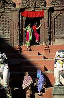 Nepal - Vallée de Kathmandu - Kathmandu - Durbar Square - Temple de Shiva Parvati