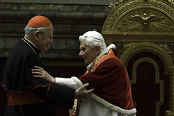 Pope Benedict XVI greets cardinal Angelo Sodano during the audience for the Christmas greetings with the Roman Curia at the Clementine hall at the Vatican, Italy, December 21, 2012. Photo by Imago / i-Images...UK ONLY