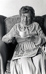 Portrait of an elderly woman in private residential care, Nottingham, UK 1986