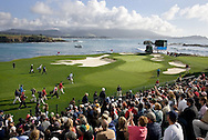 Wide view of the 17th hole at Pebble Beach during the AT&T.
