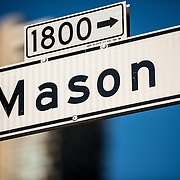 Street sign for Mason Street in San Francisco's North Beach neighborhood.