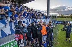 Lyngby-spillere og ledere jubler efter scoringen til 2-1 under kampen i 3F Superligaen mellem Lyngby Boldklub og Hobro IK den 20. juli 2020 på Lyngby Stadion (Foto: Claus Birch).