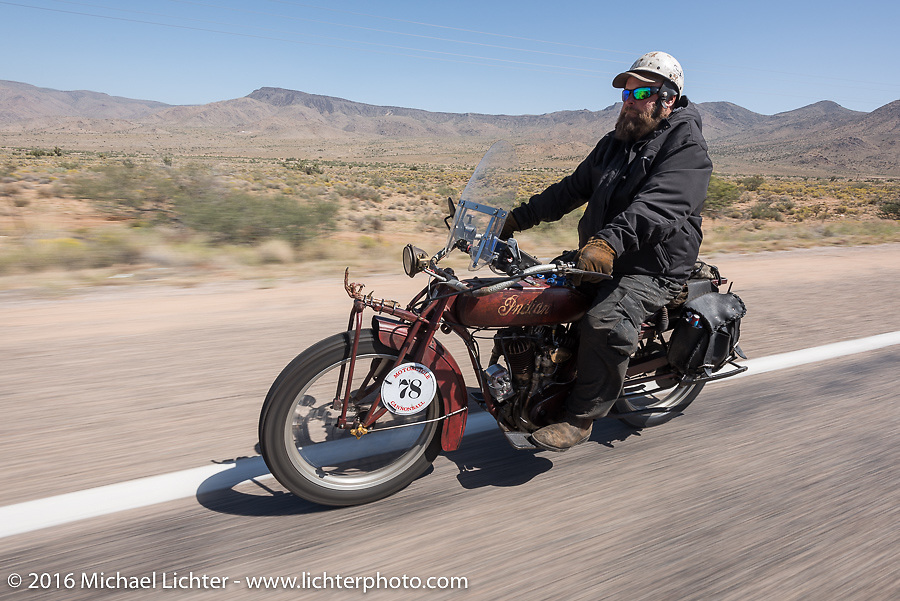 Clint Funderburg riding his 1916 Indian on historic Route 66 near Kingman, Arizona during the Motorcycle Cannonball Race of the Century. Stage-13 ride from Williams, AZ to Lake Havasu CIty, AZ. USA. Friday September 23, 2016. Photography ©2016 Michael Lichter.
