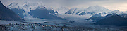 View up the main branch of the Columbia Glacier and surrounding peaks in the Chugach Mountains, Alaska.