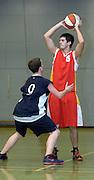 UK - Tuesday, Nov 18 2008:  Erks' Mark Denchfield (#5) looks to pass during Barking and Dagenham Erkenwald Basketball Club's Essex Basketball League game against Brightlingsea Sledgehammers. Erks won the game 91 - 86. (Photo by Peter Horrell / http://www.peterhorrell.com)