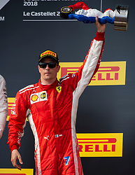 Kimi Raikkonen from Finland (Scuderia Ferrari) poses on the podium like 3rd classified at the F1 French Grand Prix, Le Castellet on June 24, 2018. Photo by Marco Piovanotto/ABACAPRESS.COM