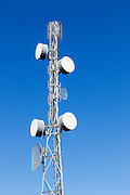 microwave link backhaul parabolic antennas on tower in rural Emerald, Queensland, Australia <br />