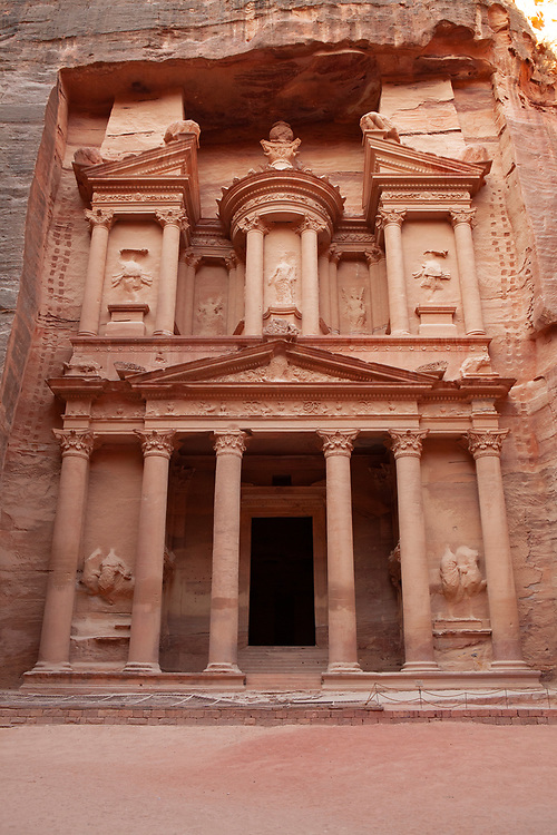 """Low angle view of the Treasury, a facade carved out of stone by the Nabataeans. Currently one of the """"Seven Wonders of the World"""""""