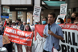 London, UK. 20th July, 2021. Adam Booth of Socialist Appeal addresses supporters of left-wing Labour Party groups, including some suspended members, at a protest lobby outside the party's headquarters. The lobby was organised to coincide with a Labour Party National Executive Committee meeting during which it was asked to proscribe four organisations, Resist, Labour Against the Witchhunt, Labour In Exile and Socialist Appeal, members of which could then be automatically expelled from the Labour Party.