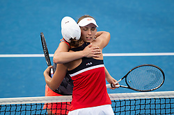 January 10, 2019 - Sydney, NSW, U.S. - SYDNEY, AUSTRALIA - JANUARY 10: Both players hug after the game at The Sydney International Tennis in the game between Ashleigh Barty (AUS) and Elise Mertens (BEL) on January 10, 2018, at Sydney Olympic Park Tennis Centre in Homebush, Australia. (Photo by Speed Media/Icon Sportswire) (Credit Image: © Steven Markham/Icon SMI via ZUMA Press)