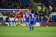 Peter Whittingham of Cardiff city (r no7) hits a free kick straight at the Middlesbrough wall. Skybet football league championship match, Cardiff city v Middlesbrough at the Cardiff city Stadium in Cardiff, South Wales  on Tuesday 20th October 2015.<br /> pic by  Andrew Orchard, Andrew Orchard sports photography.