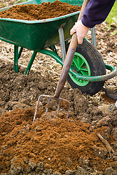 Digging in manure and organic matter to condition the soil