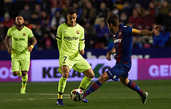 January 10, 2019 - Valencia, Valencia, Spain - Coke Andujar of Levante UD and Philippe Coutinho of FC Barcelona during the Spanish Copa del Rey match between Levante and Barcelona at Ciutat de Valencia Stadium on Jenuary 10, 2019 in Valencia, Spain. (Credit Image: © AFP7 via ZUMA Wire)