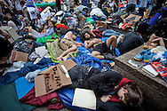 Participants  in the Occupy Wall Street movement in Zuccotti Park on October 10, 2011 in New York City sleep in the park on a record breaking warm fall day.gg