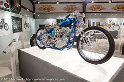 Seven Motorcycles' Takatoshi Suzuki's Skinny Teal custom 1967 Harley-Davidson Panhead in the What's the Skinny Exhibition (2019 iteration of the Motorcycles as Art annual series) at the Sturgis Buffalo Chip during the Sturgis Black Hills Motorcycle Rally. SD, USA. Friday, August 9, 2019. Photography ©2019 Michael Lichter.