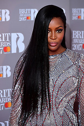 Naomi Campbell in the press room during the Brit Awards at the O2 Arena, London.