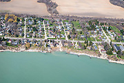 Aerial view of shoreline erosion, Kenosha, Wisconsin on a sunny April day.