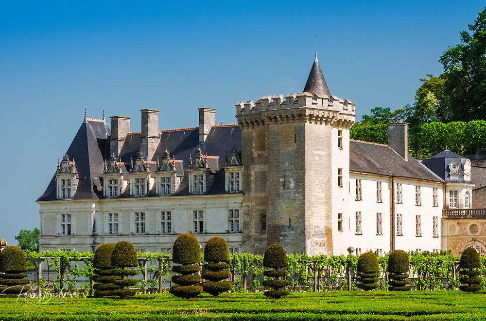 Chateau de Villandry and gardens, Villandry, Loire Valley, France
