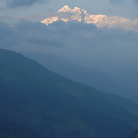 A snowy mountain on the way to the village of Jiri, in Nepal